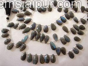 Labradorite Briollete Pear Gemstone Beads.