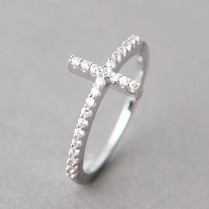 CZ STERLING SILVER SIDEWAYS CROSS RING WHITE GOLD SIDEWAY CROSS RING | kellin - Jewelry on ArtFire