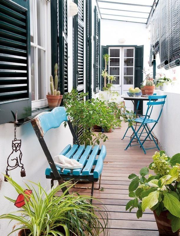 10 bancos azules reciclados para el exterior de la casa / 10 recycled blue bench outdoor