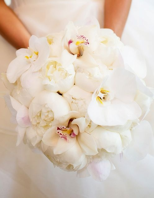 A cloud-like bouquet of white orchids and peonies at a Four Seasons Hotel Boston wedding.