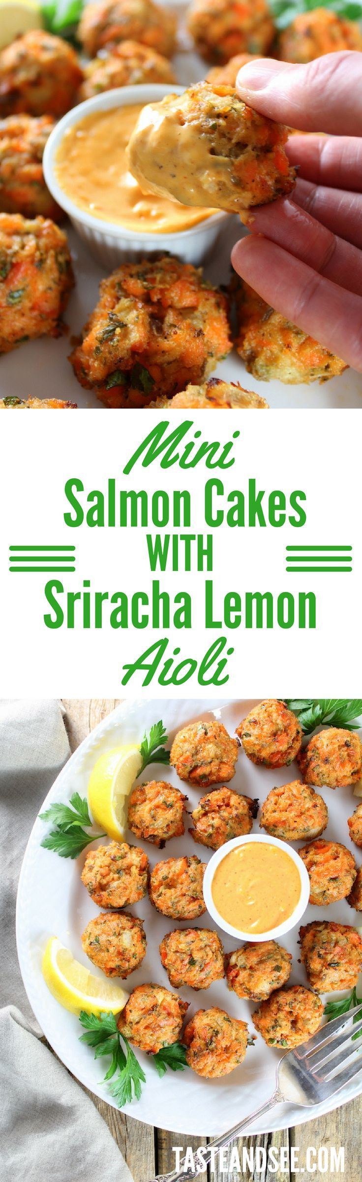 Mini Salmon Cakes with Sriracha Lemon Aioli - the perfect appetizer for holiday entertaining!  http://tasteandsee.com