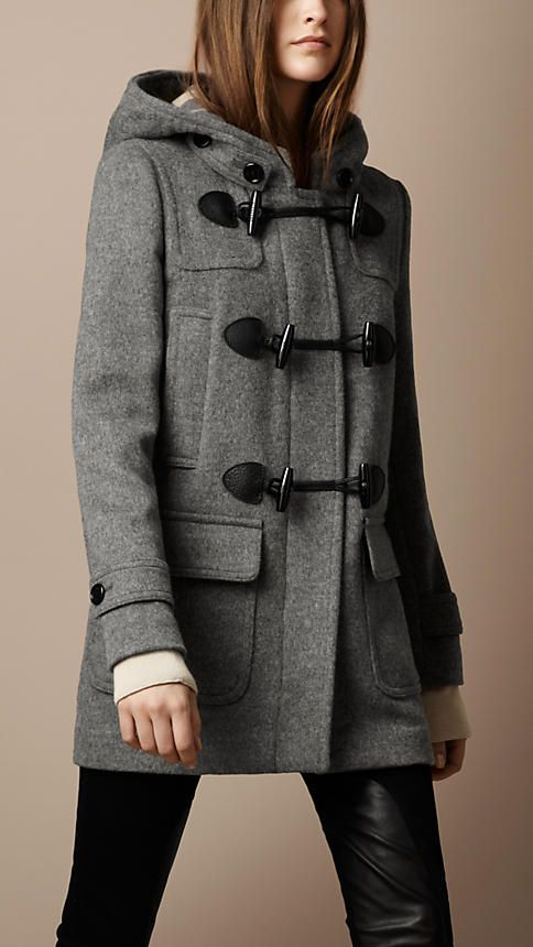 Burberry Wool Duffle Coat in Grey