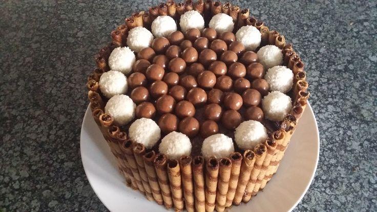 Chocolate cake with wafers, Raphaelos and chocolate balls