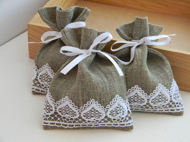 Wedding Favors, Wedding favor bags, burlap, linen, white lace - set of 10 4x5. $20.00, via Etsy.