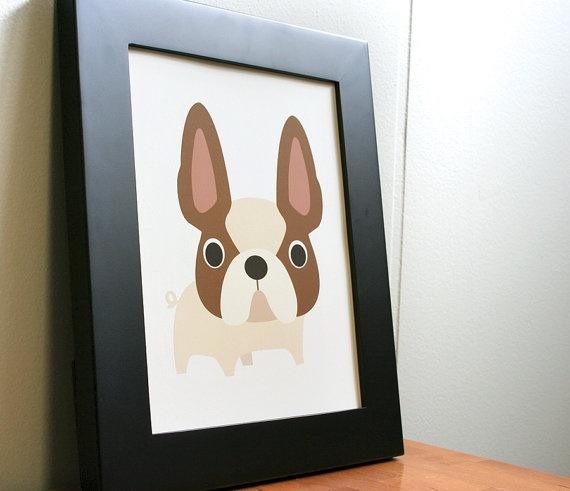 "French bulldog print. 8"" x 10"": Art Prints, French Bulldog Art, Bulldogs Prints, French Bulldogs Art"