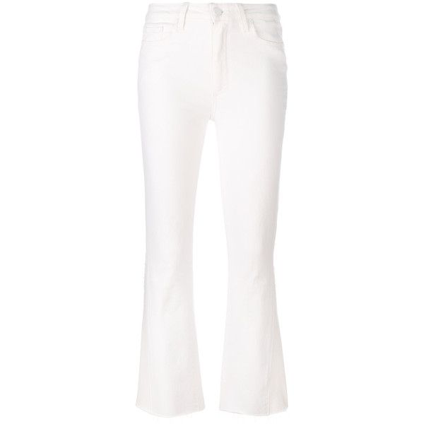 Paige bootcut cropped jeans ($401) ❤ liked on Polyvore featuring jeans, white, bootcut jeans, boot cut jeans, paige denim, white jeans and boot-cut jeans