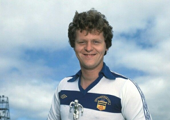 Morton's Andy Ritchie with his trophy for being voted most exciting player in Scotland by readers of Shoot. (1979)