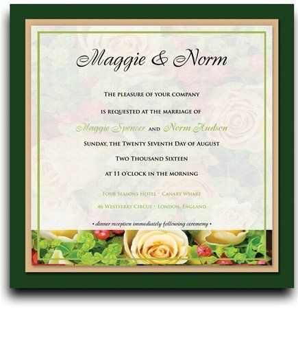 155 Square Wedding Invitations - Yellow Rose Garden Frost by WeddingPaperMasters.com. $406.10. Now you can have it all! We have created, at incredible prices & outstanding quality, more than 300 gorgeous collections consisting of over 6000 beautiful pieces that are perfectly coordinated together to capture your vision without compromise. No more mixing and matching or having to compromise your look. We can provide you with one piece or an entire collection in a ...