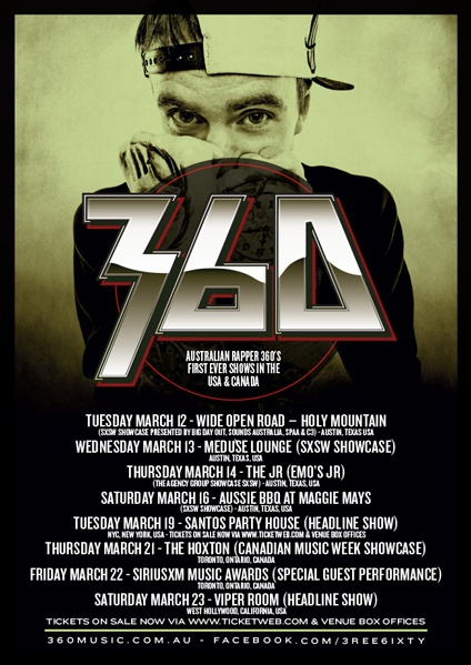 Australia rapper 360 plays his first ever USA and Canadian shows >Info Below