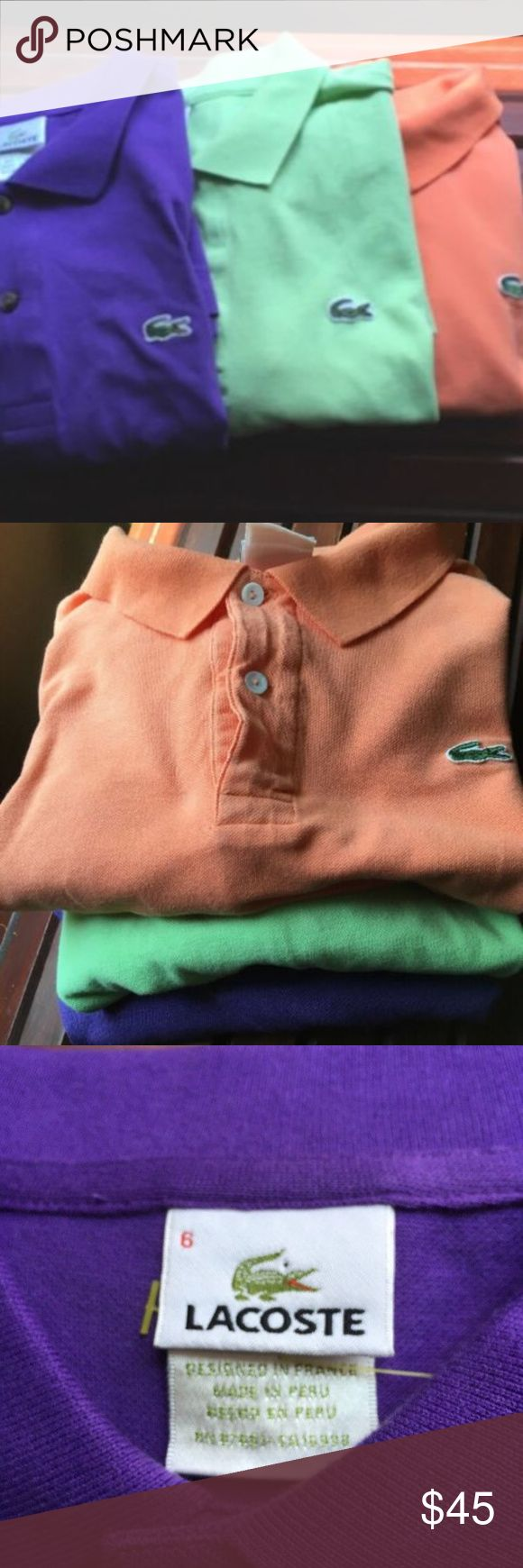 """LACOSTE polo golf men's shirts size 6 bundle Lacoste polo shirts lot - lime green - purple - papaya color all size 6  arm pit to arm pit 24"""" across  collar top to bottom of hem 29""""  in pre owned condition - very good - salmon/peachy orange has a faint mark towards bottom of shirt - refer to pictures - price reflects Lacoste Shirts Polos"""
