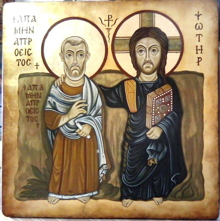 """Elena Varga """"Hristos si Sf.Menas"""" icoana pe lemn,tehn.bizantina,40x40cm (orig.sec VI)"""