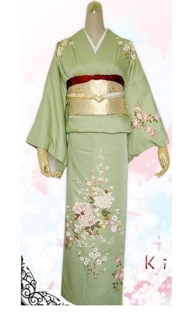 Green kimono houmongi