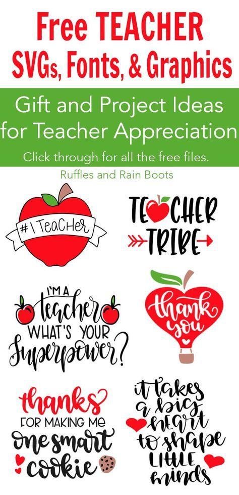 Free Teacher SVG Files - Appreciation Week & Back to School