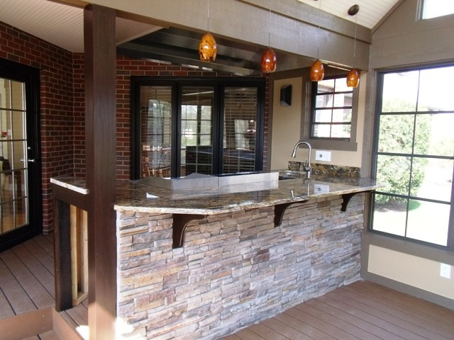 Stacked Stone Veneer Bar Front