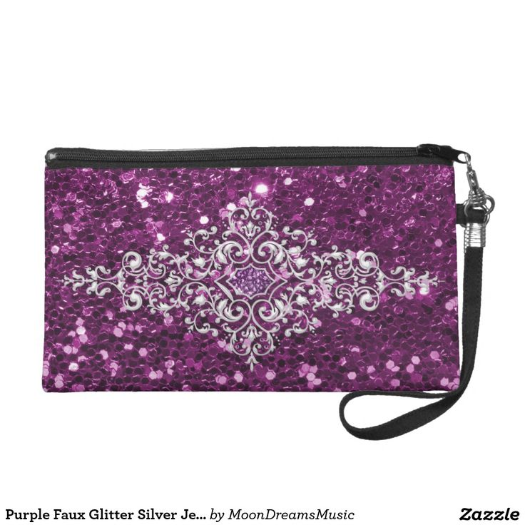 #PurpleFauxGlitter #SilverJewelDesign #FashionWristlet by #MoonDreamsMusic