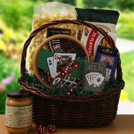 Game Night Basket Bottle Of Wine Deck Cards Pretzels Gourmet Mustard