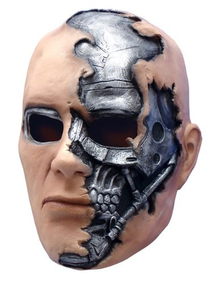 Complete your Terminator costume with this officially licensed vinyl mask featuring a flesh and metal look and a comfortable fit!