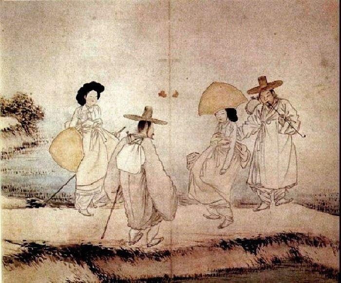혜주와 수빈이는 강 다리에서 친절한 남자들과 마주쳤습니다.  (신윤복, 노중상봉)