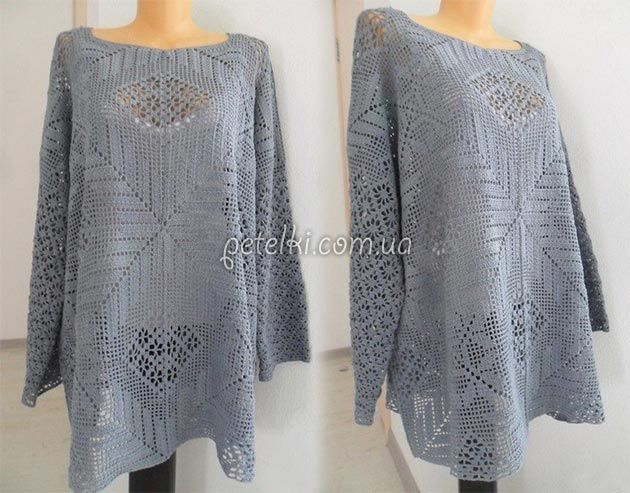 Шикарный блузон для шикарных женщин. Как вязать