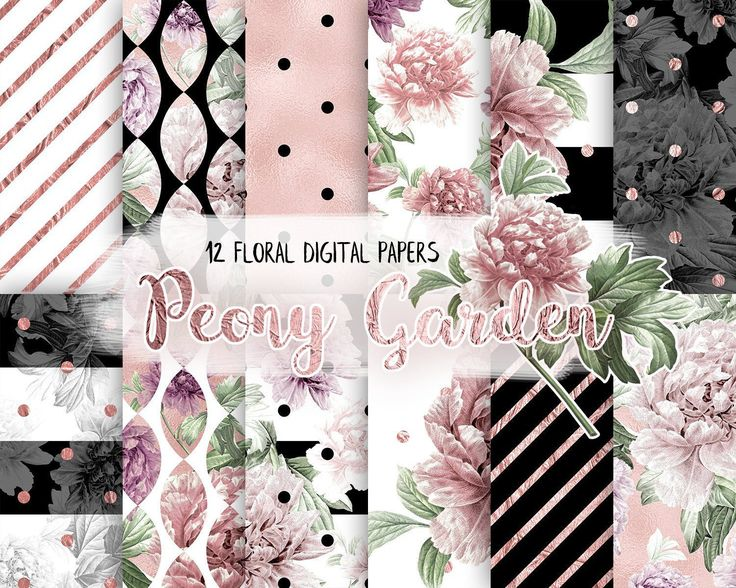 Floral Digital Paper Pack,Black and White, Rose Gold, Peony Flower, Peach, Modern Pattern, Blossom, Scrapbooking Paper by CamDoodleArt on Etsy