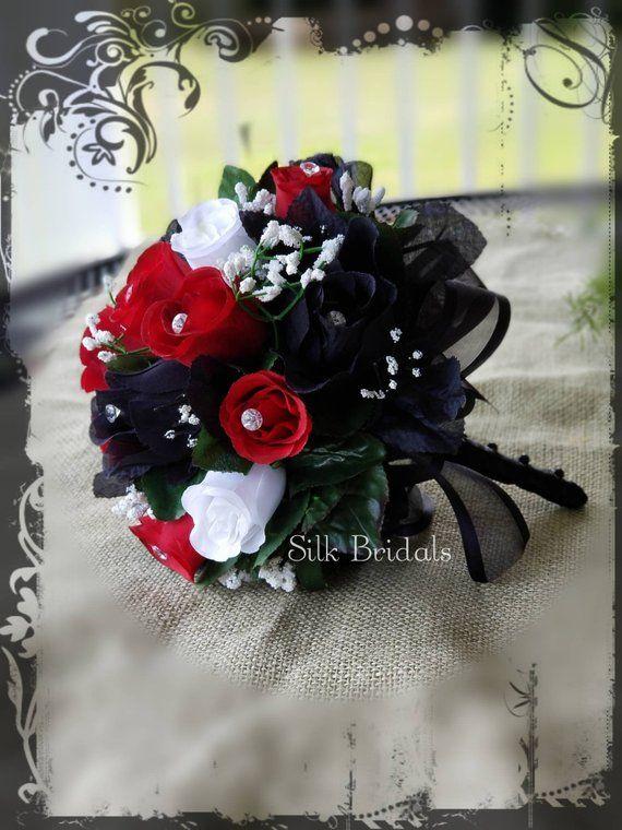 Black White Red Roses Bridal Bouquet Bridesmaid Silk Wedding