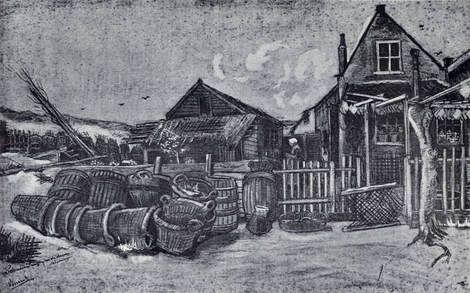 Vincent van Gogh, Fish Drying Barn in Scheveningen, 1882 Pencil, wash, and ink on paper on ArtStack #vincent-van-gogh #art