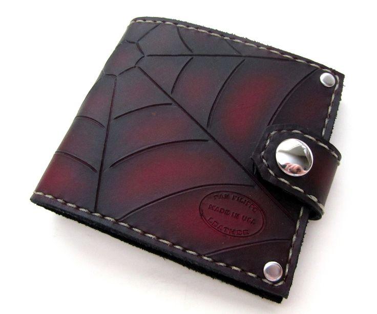 Red & Black Spider Web Snap Men's Leather Bifold Wallet.