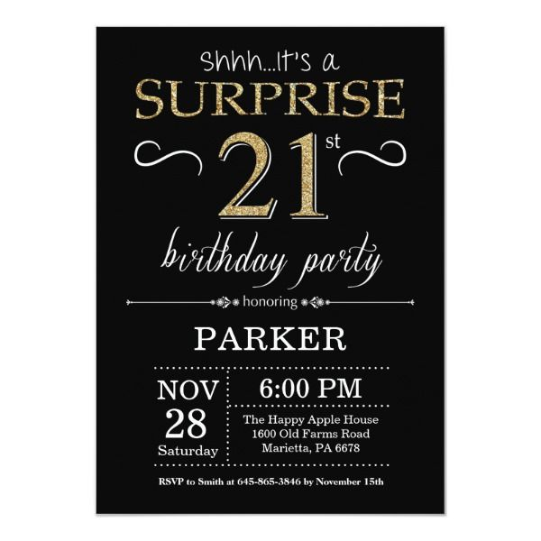 Surprise 21st Birthday Invitation Black And Gold Zazzle Com 21st Birthday Invitations Black Invitation Bday Invitations
