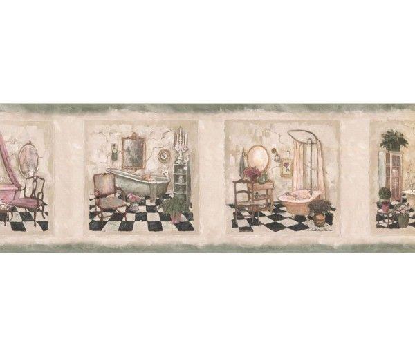7 In X 15 Ft Prepasted Wallpaper Borders Bathroom Wall Paper Border Sp76478