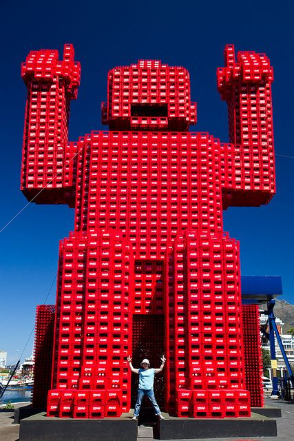 giant lego man    this colorful guy dominates the Cape Town harbour.... he's huge!!