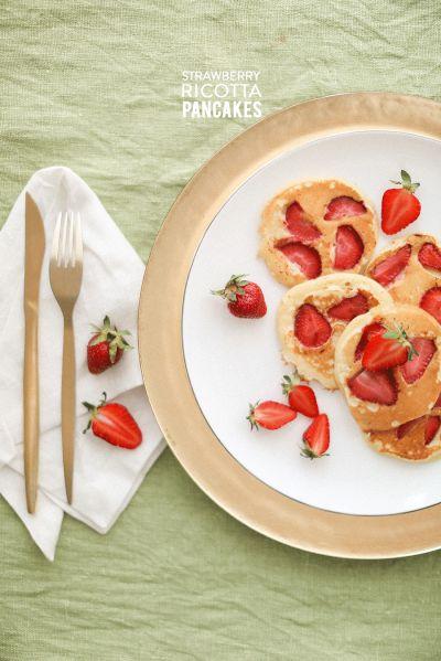 Strawberry Ricotta Pancakes: http://www.stylemepretty.com/living/2015/06/02/strawberry-ricotta-pancakes/ | Recipe: Sonya Khegay - http://sonyakhegay.com/