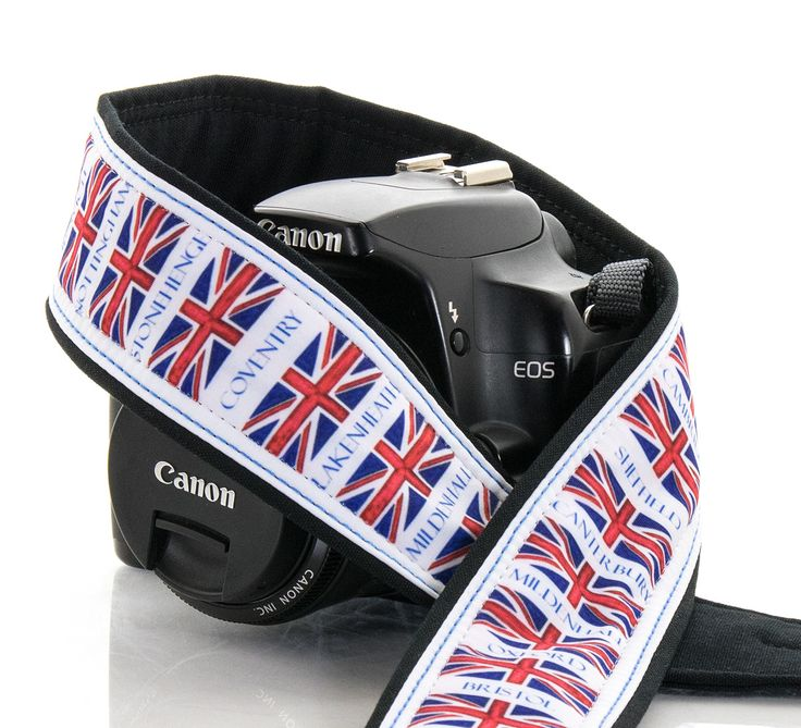 This camera strap features the Union flag of the United Kingdom along with…