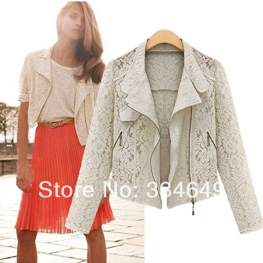 Lace Biker Jacket 2013 Autumn New Brand High Quality Full Lace Outwear Leisure Casual Short Jacket free shipping#5843 US $12.68