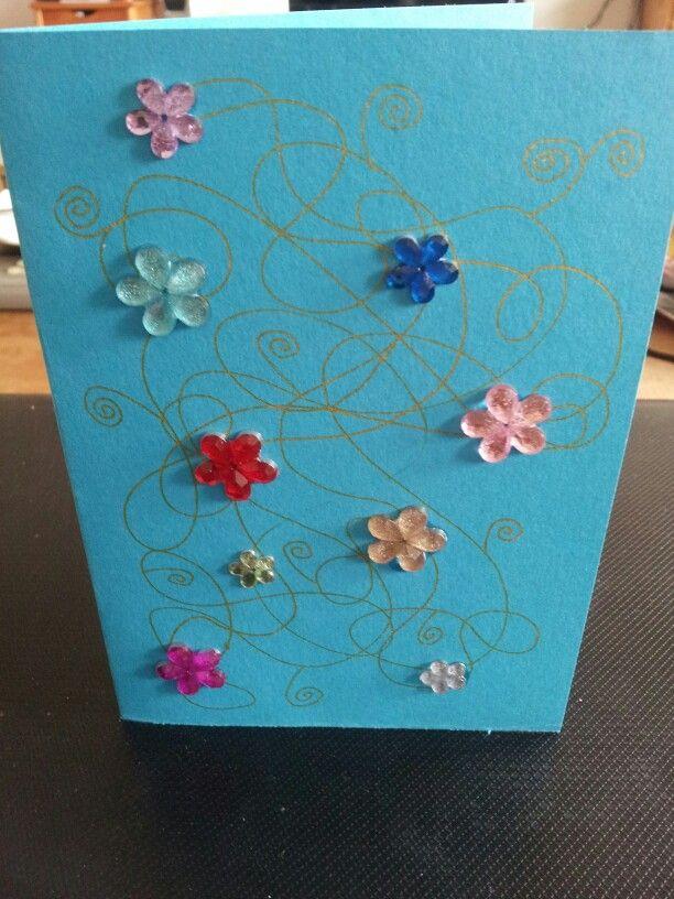 Flowers gold #homemade #card #flowers #gold #blue #pattern