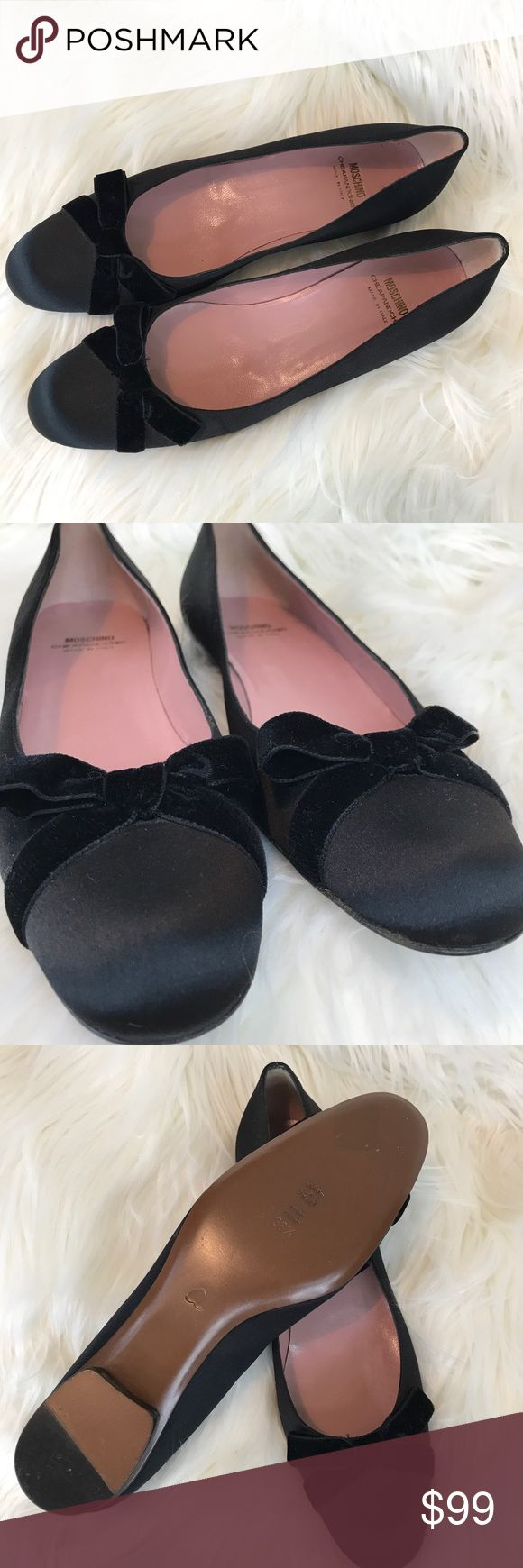 Moschino Cheap & Chic Ballet Flats new Adorable and in new condition. They appear to be tried on but that is about it. Lamb leather lined satin with velvet ribbon bow and a stacked wooden heel. All leather sole and insole. Marked 38 1/2 but fit is more like 8 Narrow. Moschino Shoes Flats & Loafers