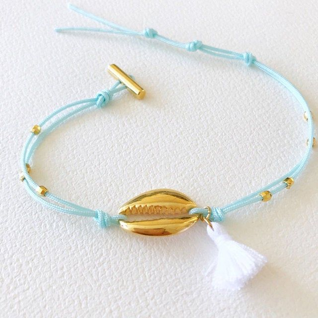 Cowrie Shell Bracelet, Tassel Bracelet Cord with 24K Gold Plated Charm, Gift for Bridesmaids