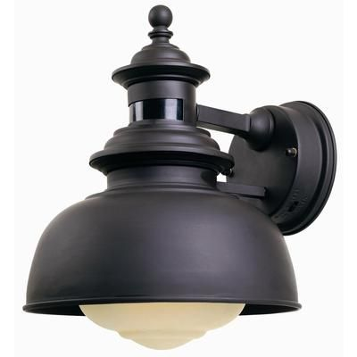 Hampton Bay 1 Light Outdoor Wall Lantern With Motion Sensor Bronze Finish