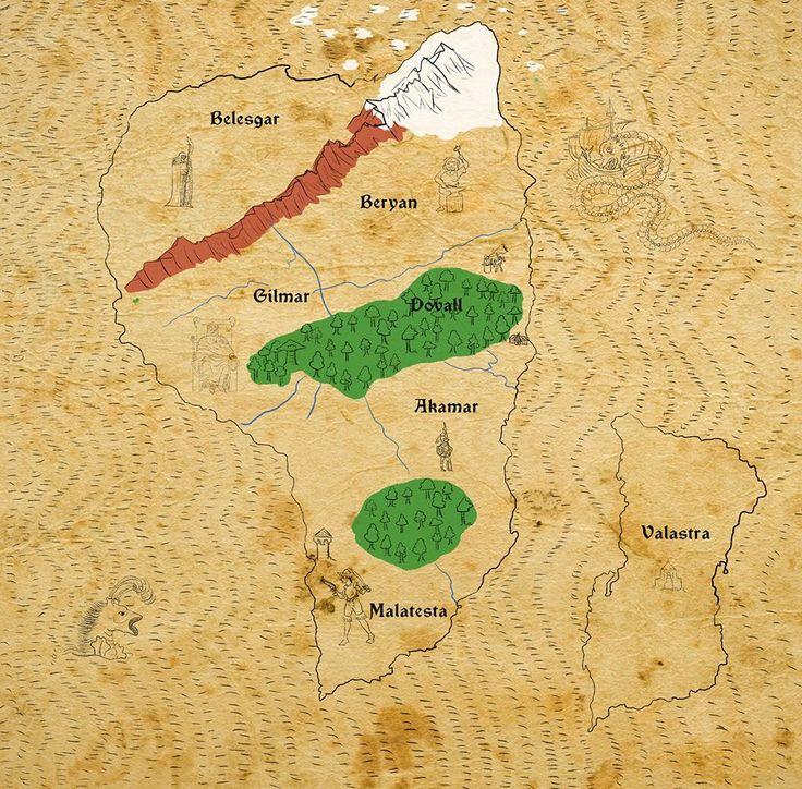 Karta över Serrigond. Illustration av Steinar Dahl.