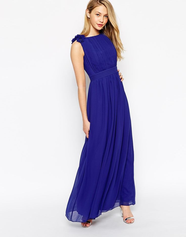 Little+Mistress+Maxi+Dress+With+3D+Floral+Shoulder+Detail