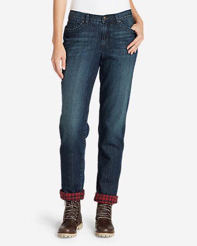 women's boyfriend flannel lined jeans in dark denim or river rock