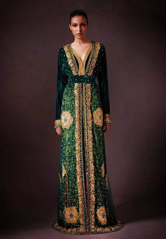 Green and gold majestic kaftan