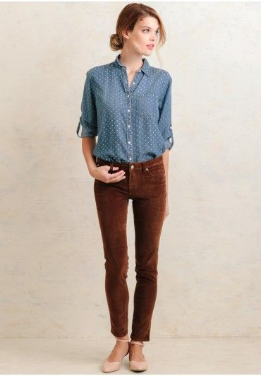 Business casual work outfit: chambray polka dot top, brown skinnies, nude shoes. I'd also wear with navy oxfords.