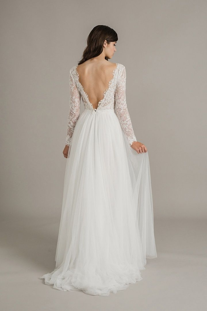 27 Lace wedding dresses with sleeves and open back