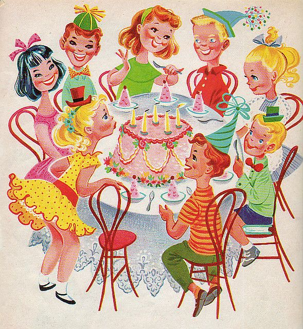 Happy Birthday by Retta Worcester, 1960 ~ this is how I remember my birthday parties to be. Sweet, simple and lots of neighborhood kid with party hats and eating only cake and ice cream. Life use to be so simple!!!
