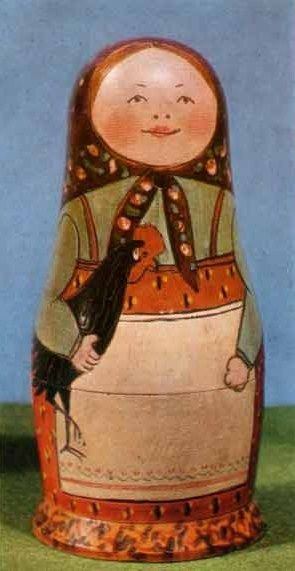 One of the first matryoshkas (Russian nesting dolls), 1892. This Matryoshka was carved by the worker Vasiliy P. Zvezdochkin (1876 - 1955) and was painted by the artist Sergey V. Malyutin (1859 - 1937). It is exhibited in the Museum of Toys in the Russian town of Sergiev Posad. #Russian #folk #art #matryoshka