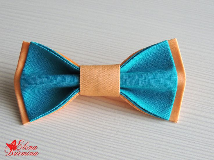 Купить Бабочка галстук бирюзово-персиковая, хлопок - бирюзовый, однотонный, светло-оранжевый, оранжевый, персиковый