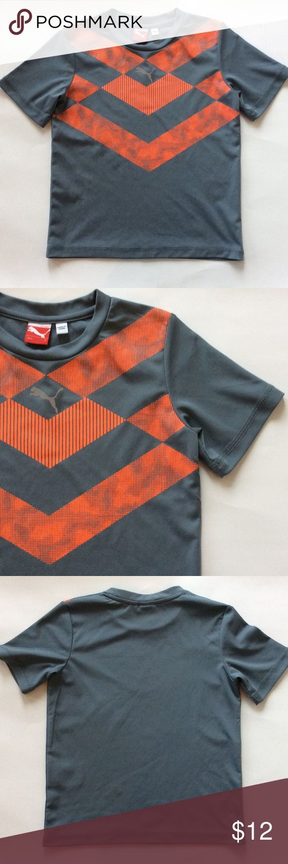👫Puma Sports Tee Puma Sports Tee. Grey with orange detail. 100% polyester. Size 6. Excellent condition. Puma Shirts & Tops Tees - Short Sleeve