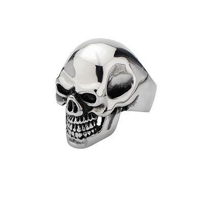 GRIN REAPER Large Skull Big Teeth Stainless Steel Mens Skull Ring