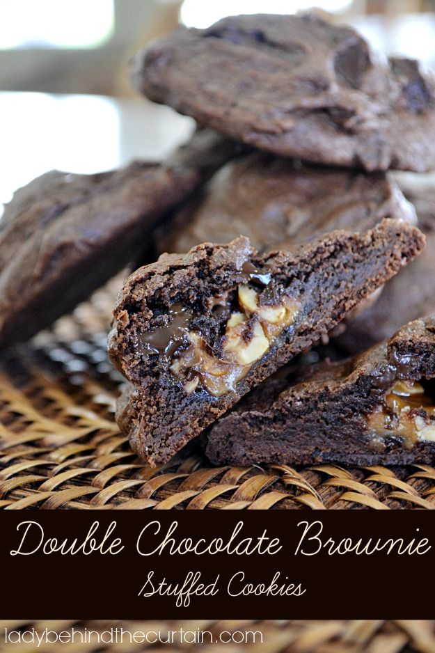 Do you LOVE chocolate or do you know someonewho does? These double chocolate brownie stuffed cookies will leave you on a chocolate high! A VERY decadent
