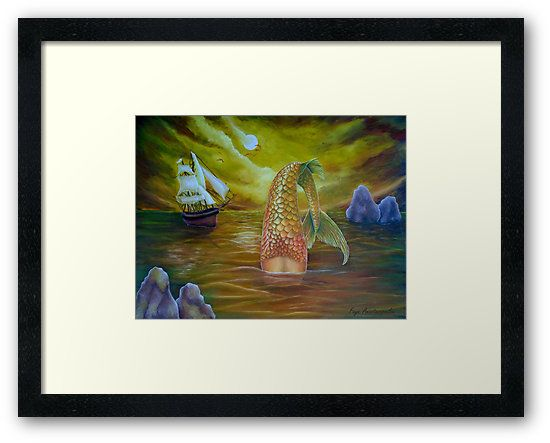 Framed, art print, mermaid,diving,painting,ocean,scene,seascape,wild,aquatic,life,sailboat,marine,nautical,moody,atmospheric,creature,tail,nightscape,moonlight,mythological,big,fish,vivid,colorful,blue,beautiful,cool,contemporary,realistic,figurative,fine,wall,art,images,home,office,decor,artwork,modern,items,ideas,for sale,redbubble